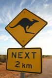 Sinal de aviso do canguru Foto de Stock Royalty Free