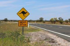 Sinal de aviso do canguru imagem de stock royalty free