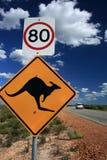 Sinal de aviso do canguru, Austrália ocidental Foto de Stock Royalty Free