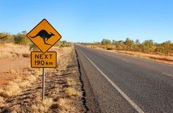 Sinal de aviso do canguru em Austrália foto de stock royalty free