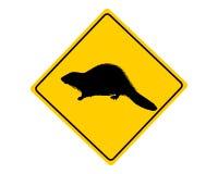 Sinal de aviso do castor ilustração stock