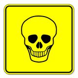 Sinal de aviso do crânio ilustração stock