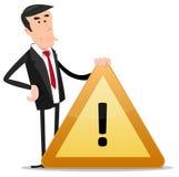 Sinal de aviso do homem de negócios ilustração royalty free