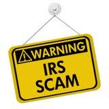 Sinal de aviso do IRS Scam fotografia de stock