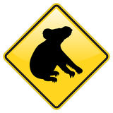 Sinal de aviso do Koala Foto de Stock