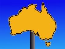 Sinal de aviso do mapa de Austrália Imagens de Stock