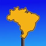 Sinal de aviso do mapa de Brasil ilustração do vetor