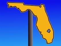 Sinal de aviso do mapa de Florida ilustração royalty free