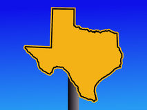 Sinal de aviso do mapa de Texas Foto de Stock Royalty Free