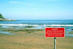 Sinal de aviso do mar Imagens de Stock