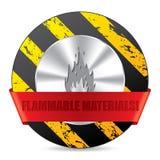 Sinal de aviso do material de Flammabile ilustração stock