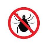 Sinal de aviso do parasita do tiquetaque epidemia Parasita humano do ?caro Parasita do ?caro ilustração stock