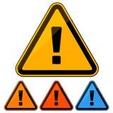 Sinal de aviso do perigo/ícone simples, lisos Quatro variações da cor Isolado no branco ilustração royalty free