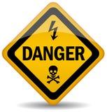 Sinal de aviso do perigo Fotografia de Stock Royalty Free