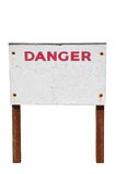 Sinal de aviso do perigo isolado Fotos de Stock