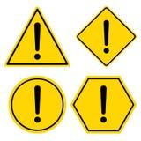 Sinal de aviso do perigo Quadrado do hexágono do triângulo e símbolo do círculo isolado no fundo branco ilustração stock