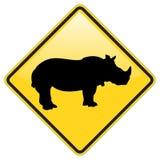 Sinal de aviso do rinoceronte Fotografia de Stock Royalty Free