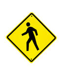 Sinal de aviso do tráfego pedestre Fotos de Stock Royalty Free