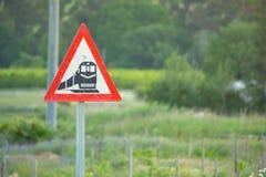 Sinal de aviso do trem Fotos de Stock