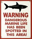 Sinal de aviso do tubarão Imagem de Stock Royalty Free
