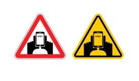 Sinal de aviso do vídeo do vertical da atenção Sinal amarelo ha dos perigos ilustração stock