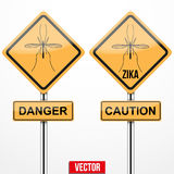 Sinal de aviso do vírus de Zika Fotografia de Stock