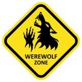 Sinal de aviso do vetor Zona do homem-lobo Imagens de Stock