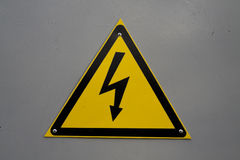 Sinal de aviso - eletricidade Imagem de Stock