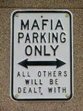 Sinal de aviso engraçado da máfia Imagens de Stock Royalty Free