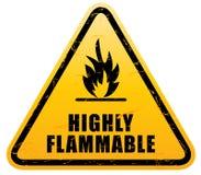 Sinal de aviso inflamável (sinal altamente flamable) ilustração do vetor