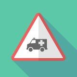 Sinal de aviso longo da sombra com um ícone da ambulância ilustração stock