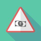 Sinal de aviso longo da sombra com um ícone da cédula da rupia ilustração royalty free