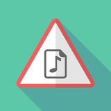 Sinal de aviso longo da sombra com um ícone da contagem da música ilustração do vetor