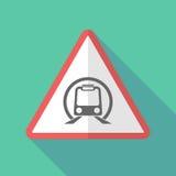 Sinal de aviso longo da sombra com um ícone do metro ilustração stock