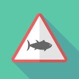 Sinal de aviso longo da sombra com um peixe de atum ilustração royalty free