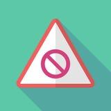 Sinal de aviso longo da sombra com um sinal proibido ilustração do vetor