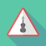 Sinal de aviso longo da sombra com um violino ilustração do vetor