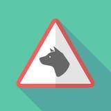 Sinal de aviso longo da sombra com uma cabeça de cão ilustração royalty free