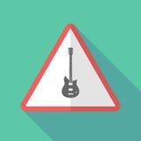 Sinal de aviso longo da sombra com uma guitarra elétrica ilustração royalty free