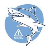 Sinal de aviso mau do tubarão Foto de Stock Royalty Free
