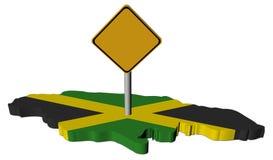 Sinal de aviso na bandeira do mapa de Jamaica ilustração do vetor