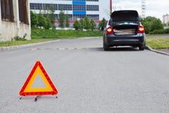 Sinal de aviso na estrada Imagem de Stock Royalty Free