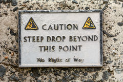 Sinal de aviso na parede do porto Foto de Stock Royalty Free