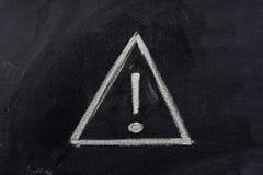 Sinal de aviso no quadro-negro Imagem de Stock
