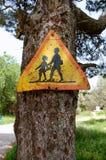 Sinal de aviso oxidado Imagens de Stock