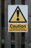 Sinal de aviso público Fotografia de Stock