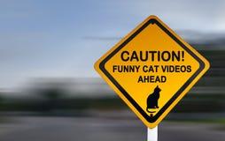 Sinal de aviso para vídeos engraçados do gato - sinal de estrada engraçado foto de stock