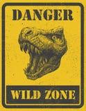 Sinal de aviso. sinal de perigo com dinossauro. eps 8 ilustração stock