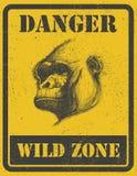Sinal de aviso. sinal de perigo com gorila. eps 8 ilustração do vetor