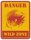 Sinal de aviso sinal de perigo com gorila EPS 8 ilustração do vetor